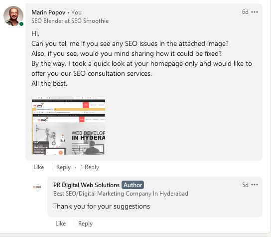 Sloppiest SEO • prdigitalwebsolutions • LinkedIn comment • Sloppy SEO Players