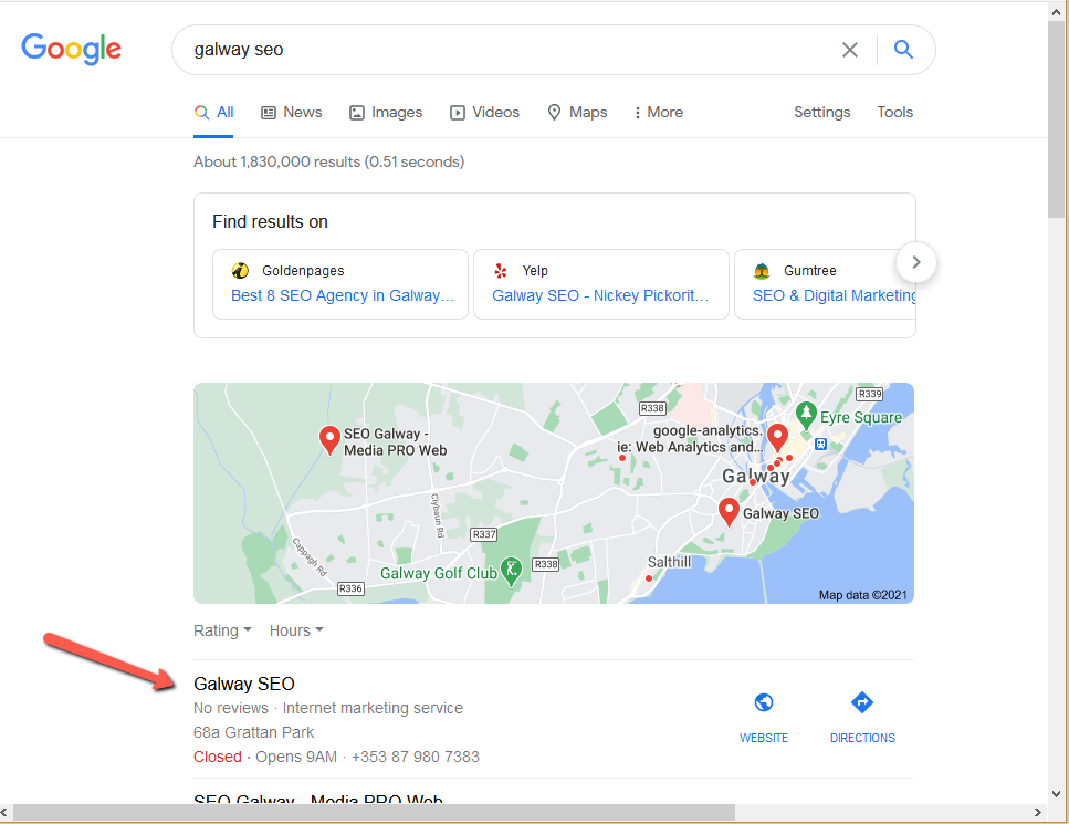 galwayseo.com • Local ranking • Sloppiest SEO Candidate • SEO Smoothie • Galway, Ireland