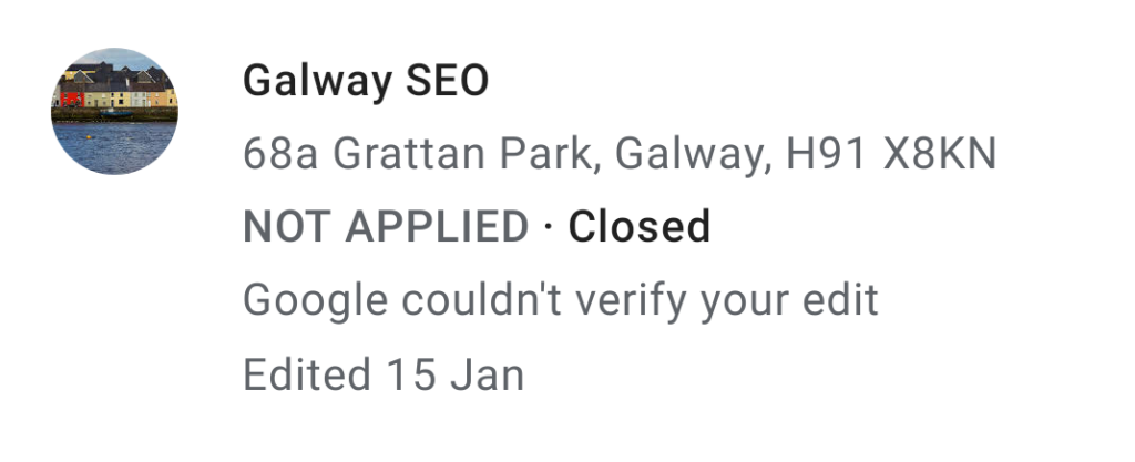 galwayseo.com - report submitted and not applied • Sloppiest SEO Candidate • SEO Smoothie • Galway