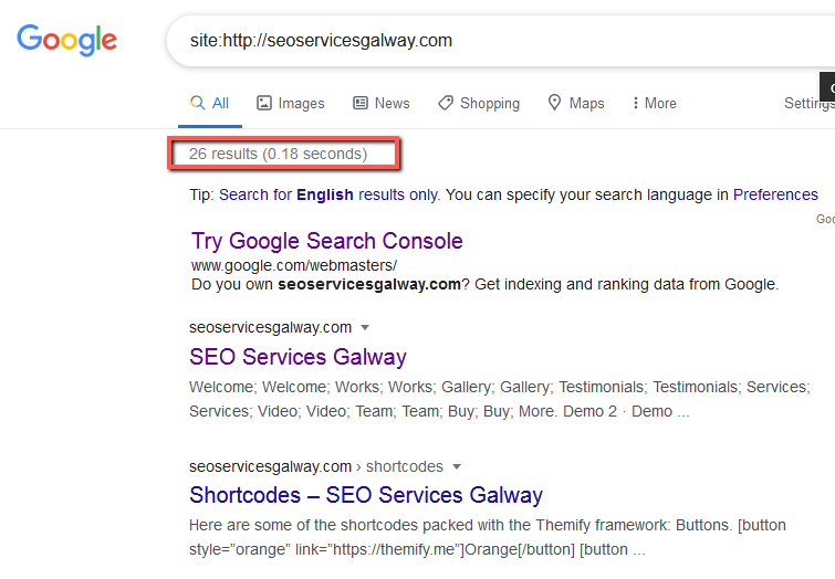 seoservicesgalway.com • Indexed pages • Sloppiest SEO Candidate • SEO Smoothie • SEO Agency