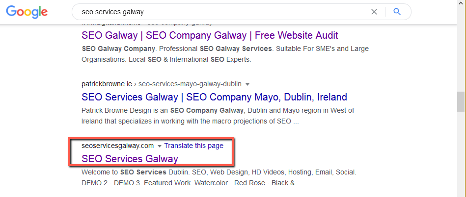 seoservicesgalway.com • Real position • Sloppiest SEO Candidate • SEO Agency • Galway, Ireland